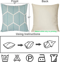 2 Pack Blue Fall Throw Pillow Cover Morden Outdoor Decorative Pillow Cases Diamonds Geometric Theme Pillowcases 18x18 Inches Cushion Cover
