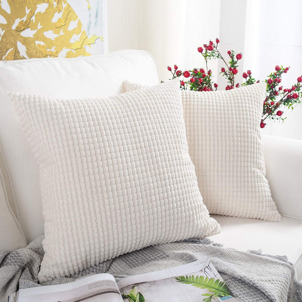 MERNETTE Pack of 2, Corduroy Soft Decorative Square Throw Pillow Cover Cushion Covers Pillowcase, Home Decor Decorations for Sofa Couch Bed Chair 18x18 Inch/45x45 cm (Granules White)