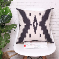BreezyLife Aztec Throw Pillow Covers Geometric Decorative Pillow Cases Square Linen Cushion Cases for Outdoor Sofa Couch Farmhouse Cottage18x18 Inches