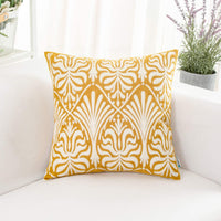 HWY 50 Yellow Rectangle Embroidered Decorative Throw Pillow Covers Cushion Cases for Couch Sofa Living Room Accent Small Lumbar 12 x 20 inch 1 Piece Floral Decor