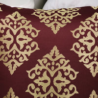 CaliTime Pack of 2 Soft Jacquard Throw Pillow Covers Cases for Couch Sofa Home Decoration Vintage Diamond Shape Damask Floral 18 X 18 Inches Burgundy