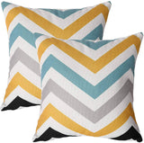 2 Pack Outdoor Fall Throw Pillow Covers Orange/Blue/Grey Striped Theme Couch Decorative Pillow Cases Geometric 18x18 inches Square Cushion Cover