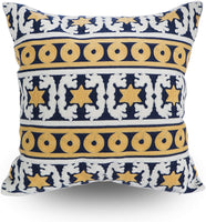 Hodeco Decorative Throw Pillow Covers Dark Blue Geometric Diamonds Embroidery Floor Pillow Cover for Couch 100% Cotton Cushion Cover Navy Blue Triangles Square Embroidered 18 x 18 Inches, 1 Piece