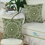 CaliTime Canvas Throw Pillow Cover Case for Couch Sofa Home Decoration Modern Compass Geometric 20 X 20 Inches Olive Green