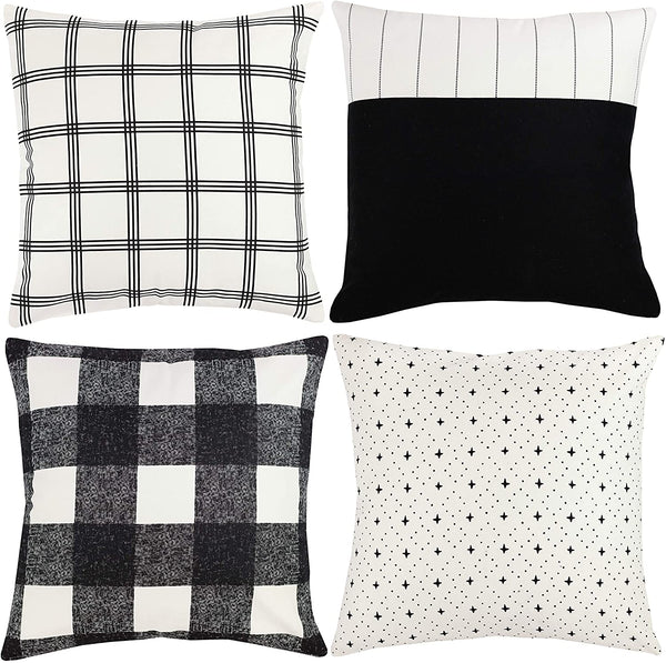 Woven Nook Decorative Throw Pillow Covers ONLY for Couch, Sofa, or Bed Set of 4 18 x 18 inch Modern Quality Design 100% Cotton Black White Monochrome Aspen