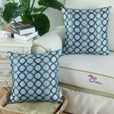 CaliTime Pack of 2 Cushion Covers Throw Pillow Cases Shells for Sofa Couch Home Decoration 18 X 18 Inches Modern Circles Rings Geometric Chain Embroidered Teal