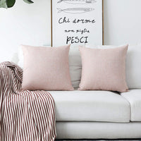 Home Brilliant Decorative Pillows Covers Lined Linen Cushion Covers for Bed Couch, Set of 2, 18x18 inches(45cm), Baby Pink
