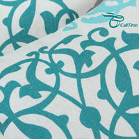 CaliTime Canvas Throw Pillow Cover Case for Couch Sofa Home Decoration Three-Tone Floral Compass Geometric 20 X 20 Inches Teal/Duck Egg/Gray