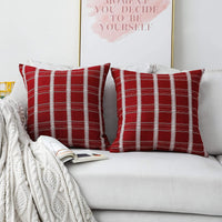 Home Brilliant Accent Pillows Covers for Bed Decorative Pillows for Couch, 18 x 18 inches(45x45cm), Set of 2, Red Burgundy