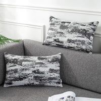 AmHoo Pack of 2 Chenille Abstract Geometric Cloud Soft Throw Pillow Covers Art Decorative Square Accent Pillowcase for Cushion Bed Sofa,12x20 inchGrey