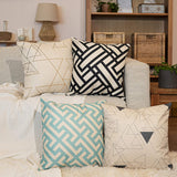 FeelAtHome Throw Pillow Covers Cases 18 x 18 Inches Set of 4 (Modern Geometric) - Cozy Decorative Throw Pillow Cases For Home, Couch, Sofa, Bed - 4PCS Zip Accent Pillow Cover 100% Quality Linen Fabric