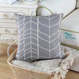 CaliTime Canvas Throw Pillow Cover Case for Couch Sofa Home Decoration Modern Chevron Stem Panels Geometric 20 X 20 Inches Medium Grey