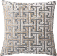 Decorative Throw Pillow Cushion Cover for Sofa, Couch or Bed – 18x18 Inches, 1PC – Many Styles Available Including Embroidered, Fur, Stripe, Medallion, Floral, Geometric & More (Gold (Geometric))