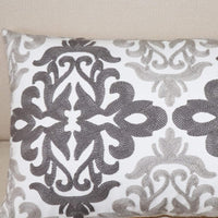 SLOW COW Cotton Embroidery Decorative Lumbar Throw Pillow Cover Rectangular Pillowcase Cushion Cover for Bed Couch Sofa 12 x 20 Inches Gray
