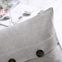 Phantoscope Farmhouse Throw Pillow Covers Triple Button Vintage Linen Decorative Pillow Cases for Couch Bed and Chair Light Grey, 26 x 26 inches 65 x 65 cm, Pack of 2