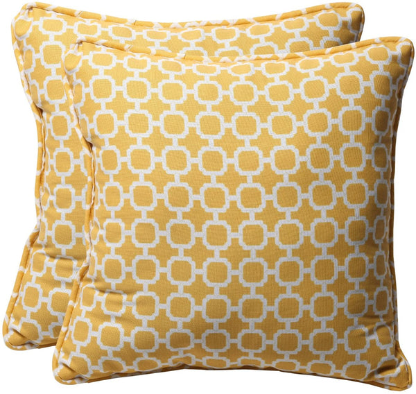"Pillow Perfect Decorative Geometric Square Toss Pillows, 18-1/2""L x 18-1/2""W x 5"" D, Yellow/White"