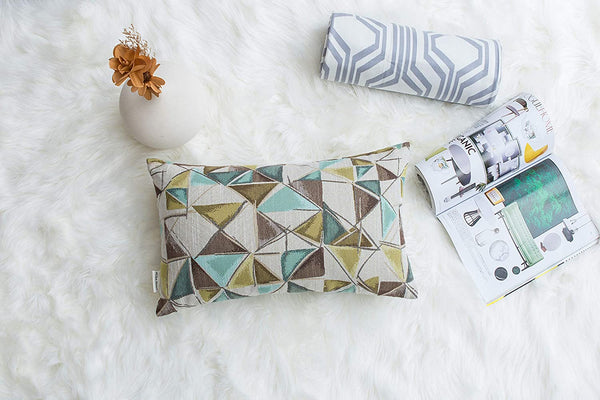 Mika Home Pack of 2 Geometric Triangles Modern Jacquard Rectangular Throw Pillow Covers for Couch Throw Pillow Cases 12x20 Inches,Gold Grey Cream