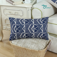 CaliTime Canvas Bolster Pillow Cover Case for Couch Sofa Home Decoration Vintage Southwestern Geometric 12 X 20 Inches Navy Blue