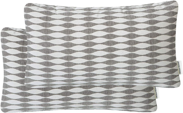 Mika Home Cozy Chenille Geometric Modern Waves Oblong Pillow Covers for Couch Sofa Bed Decorative Pillow Covers 12x20 Inches, Grey Cream