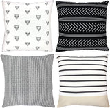 Woven Nook Decorative Throw Pillow Covers, 100% Cotton, Atlas Set, Pack of 4