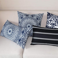 SLOW COW Velvet Print Decorative Throw Pillow Cover for Couch Sofa Bedroom Modern Geometric Cushion Cover Pillow Cover 18 x 18 Inches Navy Blue