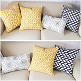 SLOW COW Cotton Embroidery Decorative Throw Pillow Cover for Couch Sofa Bedroom Modern Geometric Cushion Cover Pillow Cover 18 x 18 Inches Yellow