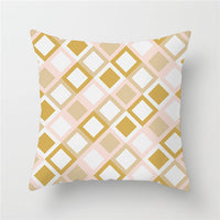 Fuwatacchi Geometric Cushion Covers Yellow Plaid Stripes Print Pillow Case For Home Chair Sofa Decoration Pillowcases 45cm*45cm