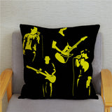 Rock Music Print Pillowcase Super Soft Short Plush Cushion Cover 45*45cm Square Throw Pillows Covers Home Decor Pillow Case