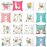 Fuwatacchi LLAMA Queen Cushion Cover Animal  Printed Polyester Pillowcase for Home Sofa Decoration Throw Pillow Covers