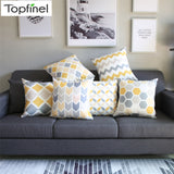 Topfinel Geometric Nordic Cushion Cover Gray and Yellow Microfiber Throw Pillow Cover Cushion Case Sofa Bed Decorative Pillow