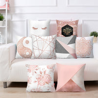 Rose Gold Square Cushion Cover Geometric Dreamlike Pillow Case Polyester Throw Pillow Cover For Home Decor 45x45cm
