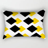 New Rectangular Polyester Printing Pillowcase Yellow Geometry 50x30cm Home Cushion Cover Waist Pillowcase Car Chair Pillow Cover