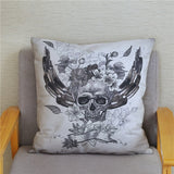 Dead Skull Head Flowers Print Cushion Cover Super Soft Short Plush Pillowcase 45*45 Throw Pillows Covers Home Decor Pillow Case