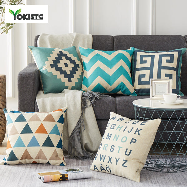 YokiSTG Geometric Decorative Throw Pillow Case Linen Cotton Cushion Cover Creative Decoration For Home Sofa Car Covers 45X45cm