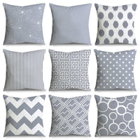 45*45cm Gray Striped Geometric Cushion Cover Polyester Pillowcase Cojines Decorativos Para Sofa Home Bedroom Sofa Decor 40814