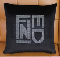Bling Crystal Diamond Double F C Letters Pattern Black Color Velvet Car Home Sofa Chair Decorative Pillow Design Cushion Covers