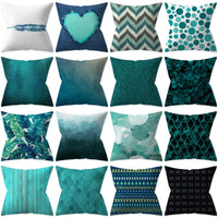 ZENGIA Turquoise Cushion Cover Teal Blue Geometric Pillow Case 45x45cm tiffanyco Decorative Pillows for Sofa/Home Decor Pillow