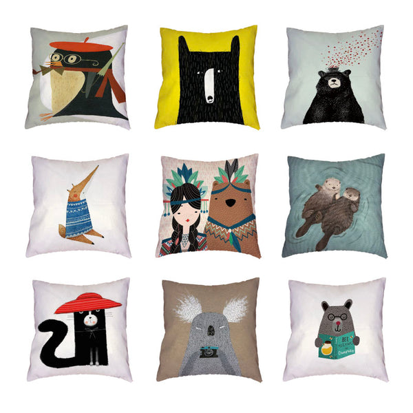 Creative Cartoon Indian Style Bear White Cushion Cover Otter Colorful Geometric Seat Home Decor Polyester Peach Skin Pillow Case