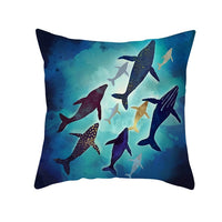 Painting Oil Mountain Forest Whale Soft Cushion Cover 45*45 Decorative Pillow Cover for Car Home Office Throw Pillows