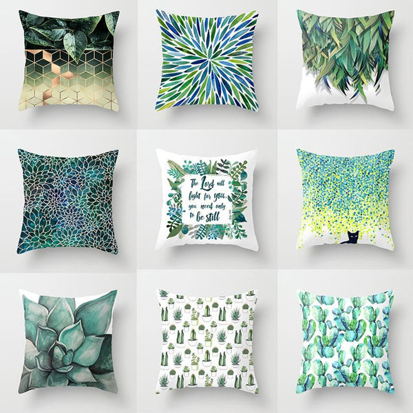 18'' Elife Green Leaves Polyester Geometric Cushion Cover Cactus Cat Pillows Cover For Sofa Car Christmas Home Decor 45*45CM