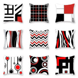 Black Red Geometric Printed Pillow Case 45x45cm Square Home Office Soft Polyester Cushion Cover Car Seat Pillowcase