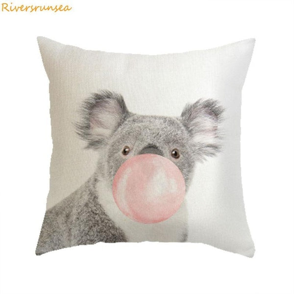 Creative Decoration Zebra Cushion Cover Koala Giraffe Blowing Bubbles Cute Animal Pillow  For  Sofa
