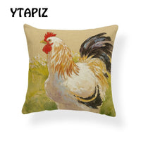 Featured Watercolor Chicken Portrait Geometric Pattern Garden Chicken Nordic Pillow 45X45Cm Polyester Decor Sofa Cushion Cover