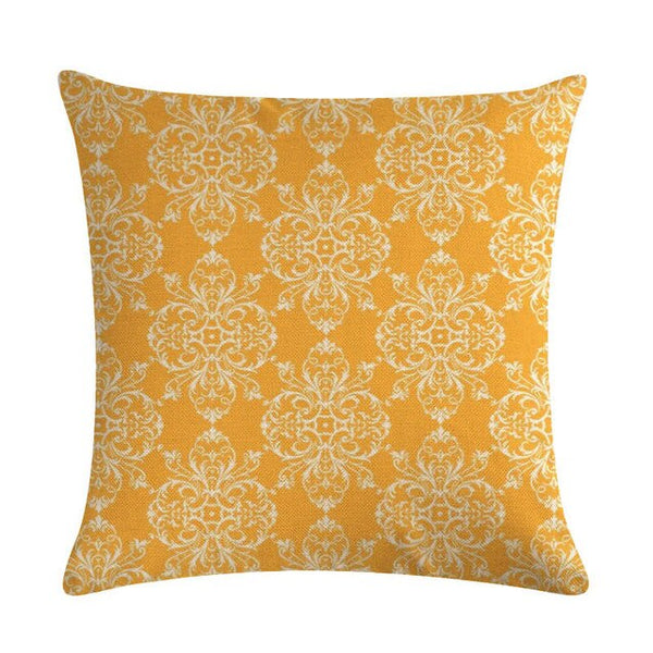 Yellow Cushion Cover 45x45cm Geometric Bee Throw Pillow Cover for Chair Home Decorative Cotton Linen Pillowcase