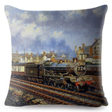 Hand Painted Train Print Cushion Cover 45*45 Square Linen Pillow Covers Throw Pillows Cases Car Sofa Home Decor Pillowcase
