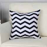 Nordic Style Geometric Decorative Cushion Covers Cotton Linen Throw Pillow Cover for Sofa Couch Chair Seat Bed Black Color