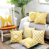 Home Decor Embroidered Cushion Cover Yellow  Ginger/White Geometric Floral Canvas Cotton Square Embroidery Pillow Cover 45x45cm