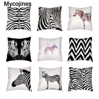 Popular Zebra White Cushion Covers Geometric Trilateral Watercolor Decoration For Home Living Room Peach Skin Throw Pillow Cases