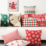 Merry Christmas Festival Deer Snow Printed Throw Pillow Cushion Cover Geometric Cushion Cover For Sofa Home Decoration Almofadas