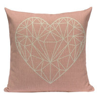 Pink Geometric Nordic Cushion Cover Tropic Palm Leaf Throw Pillow Cover Linen Cushion Case Sofa Bed Decorative Heart Pillowcase